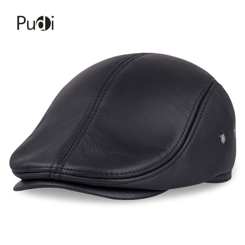 Image 3 - HL042 Spring Mens Real Genuine cow Leather baseball Cap brand Newsboy /Beret  Hat winter warm caps&hats men with ears ear flapleather baseball capbaseball capbaseball cap brand -