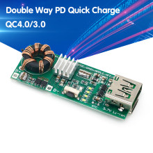 Qc4.0 qc3.0 banco de potência do telefone móvel da maneira dobro pd carga rápida 3.7v a 5v 9v 4.5a 18w tipo-c placa de circuito do carregador do impulso de usb