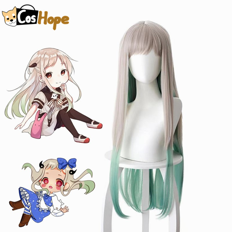 Nene Yashiro Cosplay Women 80cm Wig Long Silver Gray Gradient Green Wig Cosplay Anime Cosplay Wig Heat Resistant Synthetic Wigs