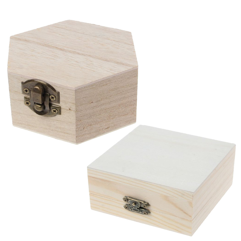 Natural Wood Box Unfinished Plain Wooden Jewelry Storage Painting Art DIY Craft Christmas Present Gifts