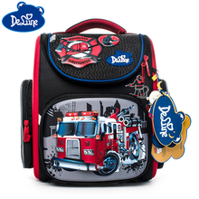 Delune Primary School Orthopedic Backpack Bags Cartoon for Girls Bear Car Cat Printing Children Mochila Infantil