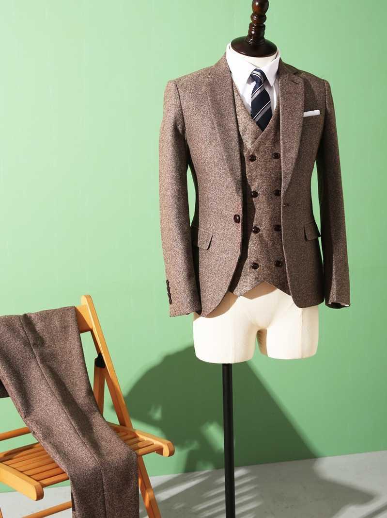 2020 smoking men's custom brown herringbone suit winter new tweed wedding dress 3 piece jacket + vest + pants