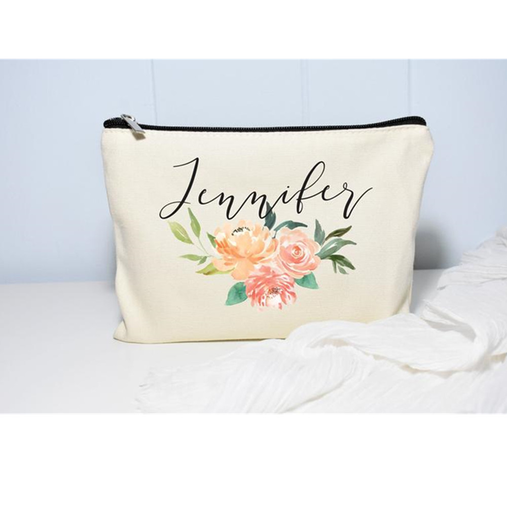 Bride floral Makeup Bag personalize monogram Toiletry Storage Bags Cosmetic Purse Wedding gift Bridesmaid Make Up Organizer Bag