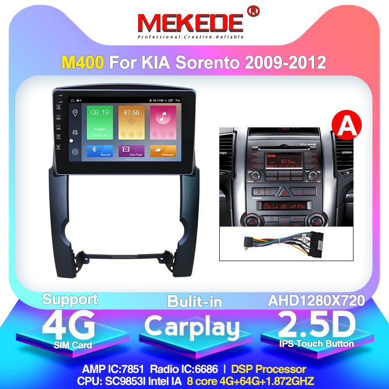 MEKEDE M400 For Kia Sorento 2 XM 2009-2012 Car Radio Multimedia Video Player Navigation GPS Android 10.0 2.5D Screen 8 Core