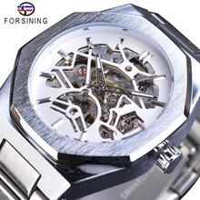 Forsining Skeleton Mechanical Automatic Mens Watches Waterproof Luminous Hands Business Wristwatch Silver Stainless Steel Clock olevs charm men business watches luminous hands clock watch day and date stainless steel bracelet waterproof wristwatch for man