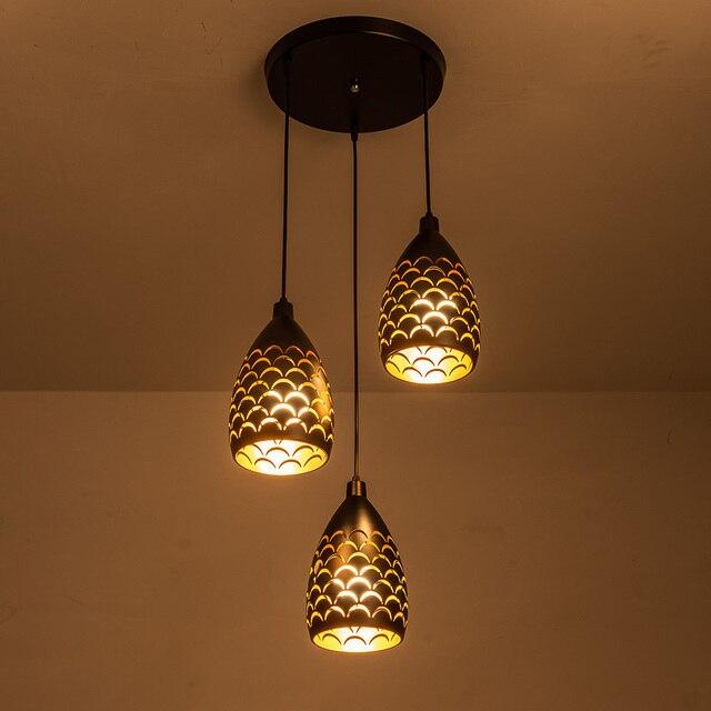 Kapalı Modern LED tavan işıkları basit restoran oturma odası yatak odası aydınlatması fikstür aksesuar pullu içi boş demir tavan lambası