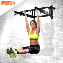 OneTwoFit Wall Mounted Pull Up Bar with More Stable 6-hole design for Indoor and Outdoor Use Fitness Equipment Home Gym OT103