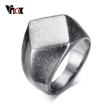 Vnox Punk Chunky Flat Rhombus Top Thumb Ring For Men Fraternal Band Stainless Steel Retro Viking Male Jewelry Rock Hiphop Bijoux(China)