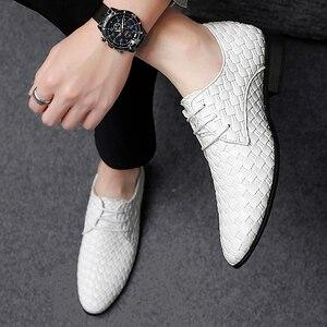 Image 5 - 2020 גברים נעליים יומיומיות עור אופנה נעלי מארג עסקי שרוכים נעלי פנאי נעלי לשכת קלאסי קלה נעליים