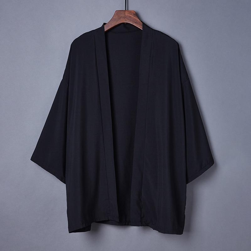 2020 Fashion Summer Plain Color Coat Japanese Kimono Cardigan Kimono Haori For Woman Man Loose Thin Black Outer Garment