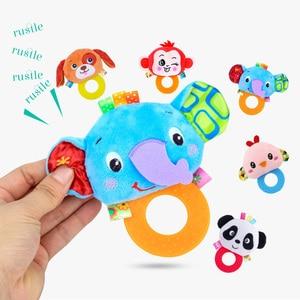 Image 4 - Animaux main cloches anneau de dentition hochet poupée en peluche bébé hochets jouets infantile Newbron éducation précoce jouets singe Panda Lion chien