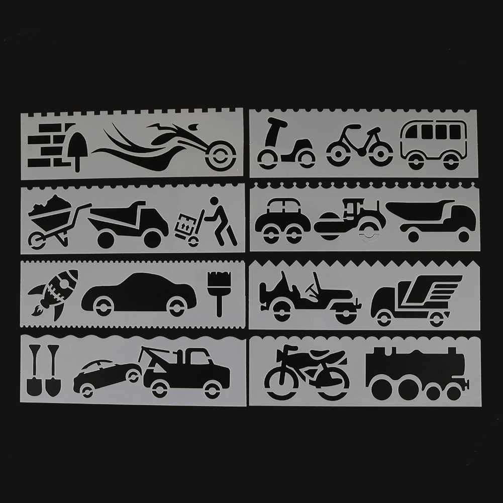 Car Shaped Painting Template DIY Craft Layering Stencils Painting Scrapbooking Stamping Embossing Album Paper Template 8 Pcs
