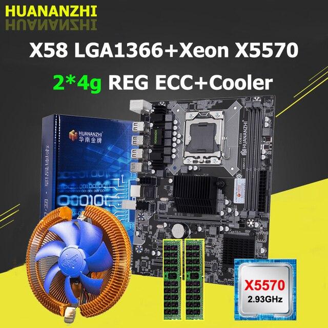 HUANANZHI X58 Motherboard with Xeon CPU X5570 2.93GHz Cooler Big Brand RAM 8G(2*4G) REG ECC Buy Computer Quality Guarantee