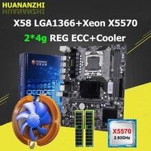 HUANANZHI X58 anakart Xeon CPU X5570 2.93GHz soğutucu büyük marka RAM 8G(2*4G) REG ECC bilgisayar satın kalite garantisi