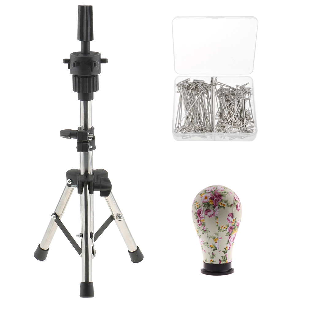 """23"""" Canvas Mannequin Head With Tripod Stand + 150 T Pins For Wig Making Hat Display - Complete Wig Making Kit And Supplies"""