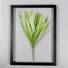 New simulation green plant flower branch Single 6 fork gray white feather leaf bouquet wreath accessories ornaments decorations(China)