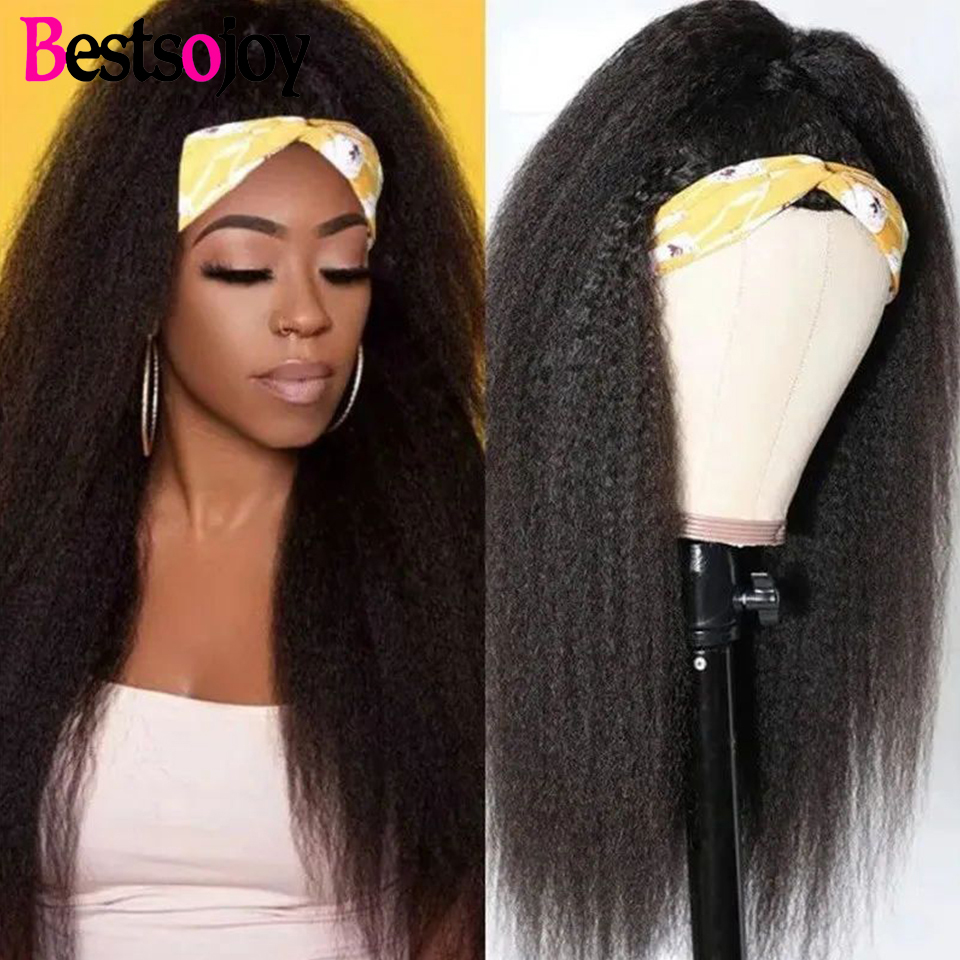 Bestsojoy Kinky Straight Headband Wig Human Hair Wigs for Black Women Natural Color Full Machine Made Scarf Headband Wig