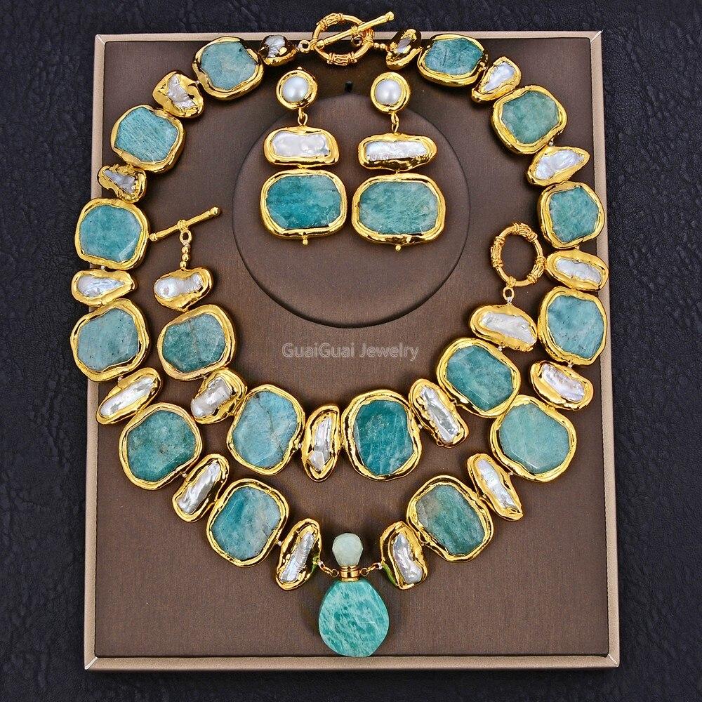 GG Schmuck Natürliche Süßwasser Weiß Biwa Perle Grün Nugget Amazonit Edelsteine Gold Überzogene Anhänger Halskette Armband Ohrringe Sets|Schmucksets|   - AliExpress