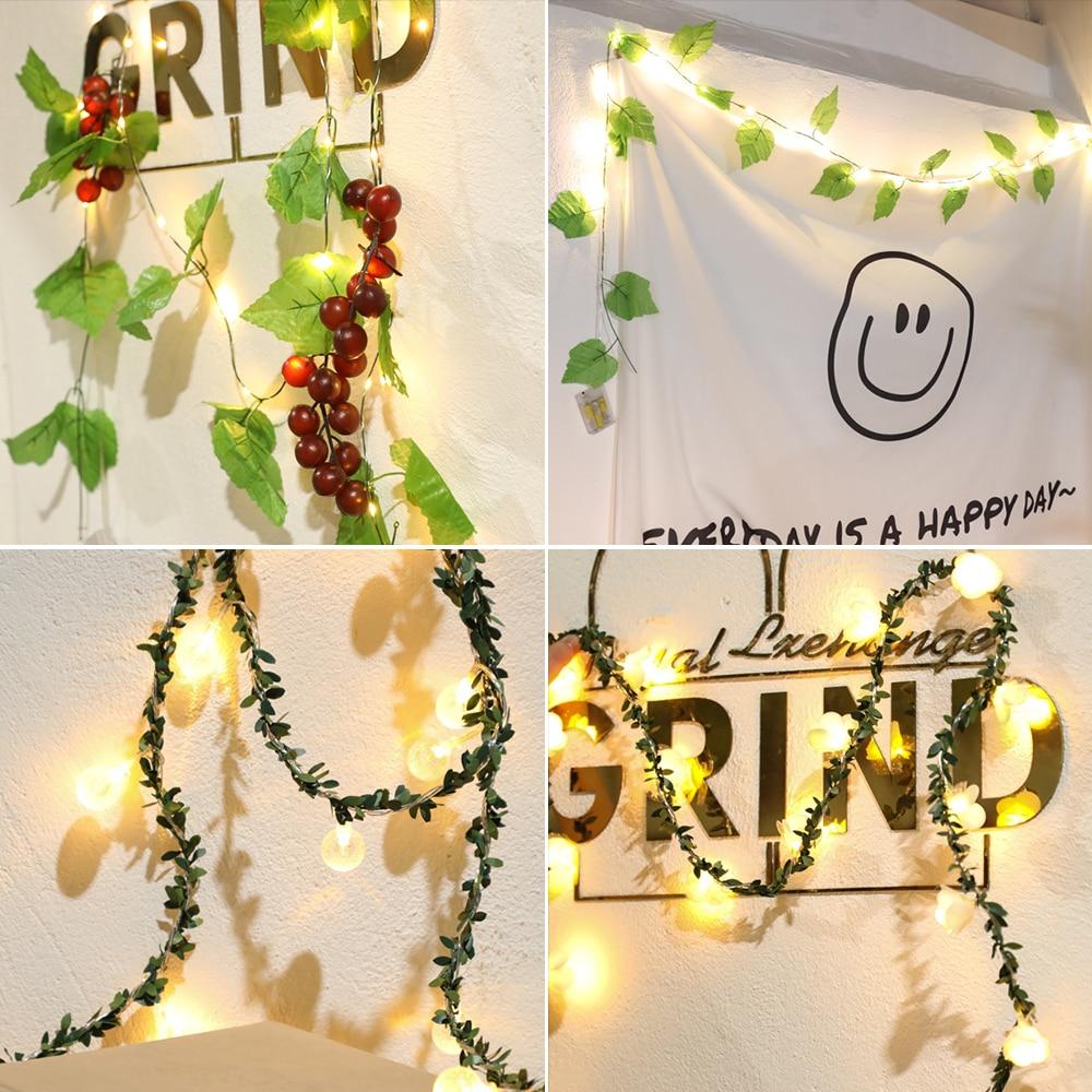 2M Lvy Leaf Garland Fairy Lights Lvy Leaves Fairy Led String Lights Garland Wedding Home Decoration Mini LED Copper Lamp