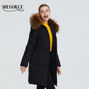 Image 3 - MIEGOFCE 2019 yeni kış koleksiyonu ceket kadın kış Parka ile kürk Hood yama cep kadın ceket farklı sıradışı renk