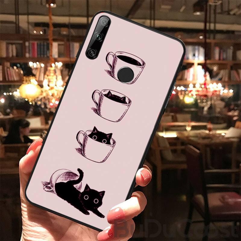 Модный мягкий чехол для телефона с кофейной чашкой и котом для Huawei Y5 II Y6 II Y5 Y6 Y7Prime Y9 2018 2019, чехол для телефона