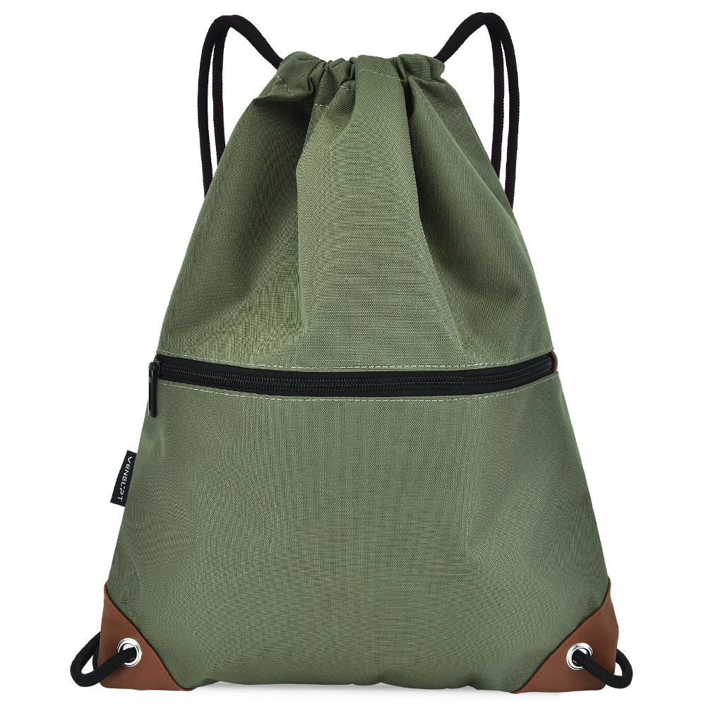 Gym Sack Drawstring Backpack Water-resistant Drawstring Bucket Bag With Zipper Pockets Light Sack For Adults And Teenagers Kids