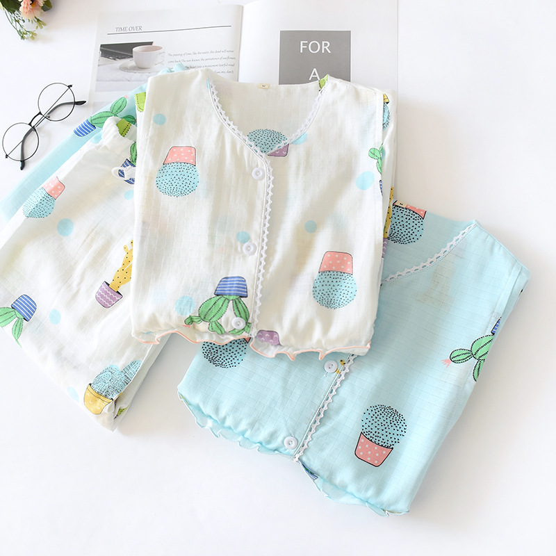 100% Cotton Gauze Pregnant Pajamas Women After Giving Birth Long-sleeved Trousers Household Suit V-Neck Baggy Printing Pajamas