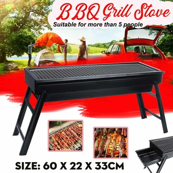 60x22x33cm Portable Stainless Steel BBQ Grill Folding BBQ Grill Outdoor Hiking Charcoal BBQ Camping Stove Tool For Home Park Use