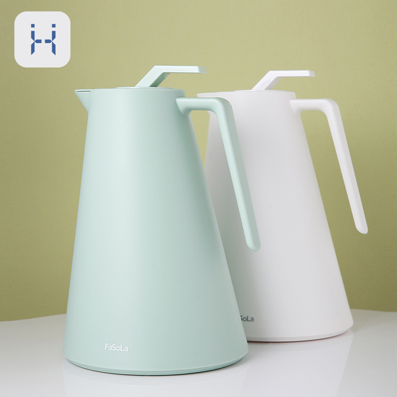 1000ML Large Household Thermos PP Plastic Water Jug Copper Plated Glass Liner Coffee Kettle Hot Tea Pots Kitchen Drinkware