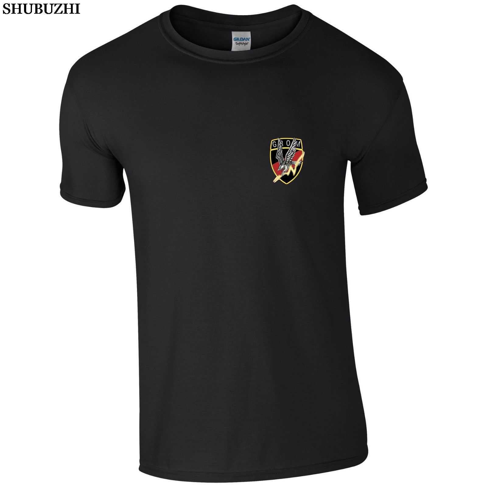 Shubuzhi ファッションソリッドカラー男性 Tシャツポーランド特殊部隊 GROM ポーランド軍の男性の綿 Tシャツカジュアル Tシャツ