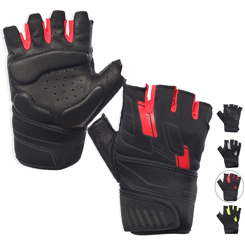 Leather Workout Gym Gloves Weight Lifting Fingerless Fitness Gloves Men Women