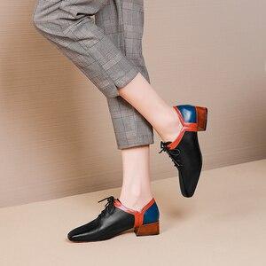 Image 5 - المرأة الشقق أحذية من الجلد الحقيقي أحذية رياضية امرأة البروغ خمر حذاء كاجوال مسطح الأربطة أكسفورد أحذية للنساء ربيع 2020