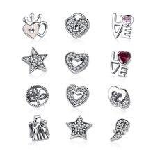 Collier bijoux en argent Sterling, Style authentique en argent Sterling 925 cœurs pour toujours, petits breloques compatibles Original, bijoux à bricoler, CRF101