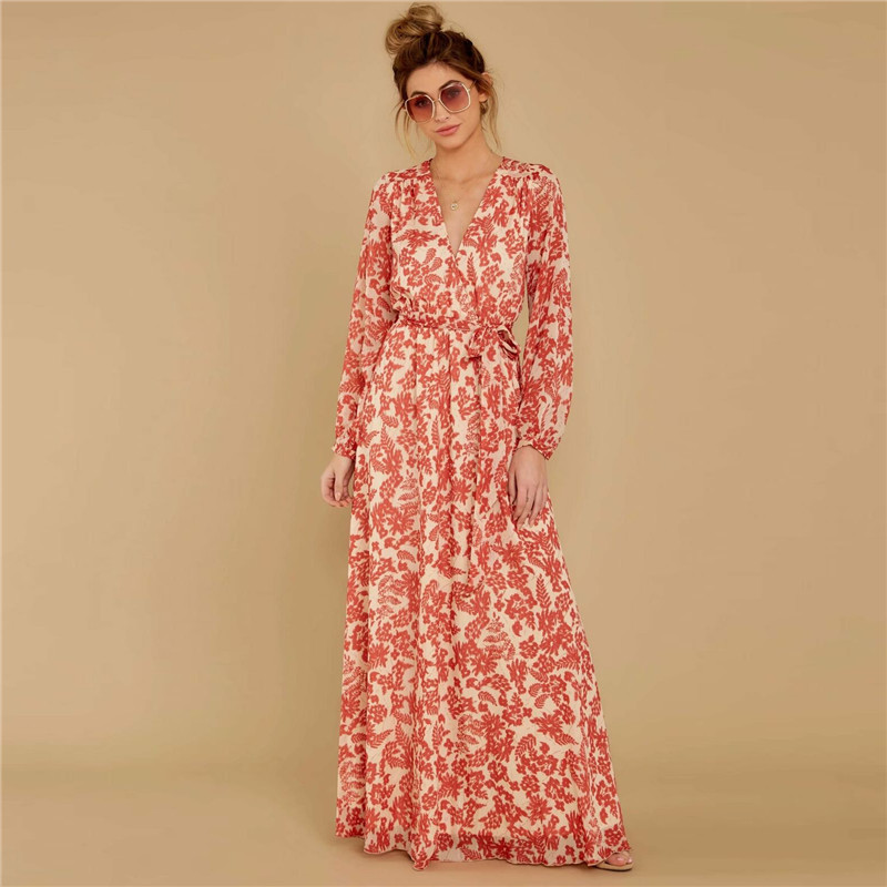 New Chiffon Summer Dress Women Spring Floral Long Sleeve V-neck Elastic Waist Sashes Dress Vintage Pleated Holiday Vestidos