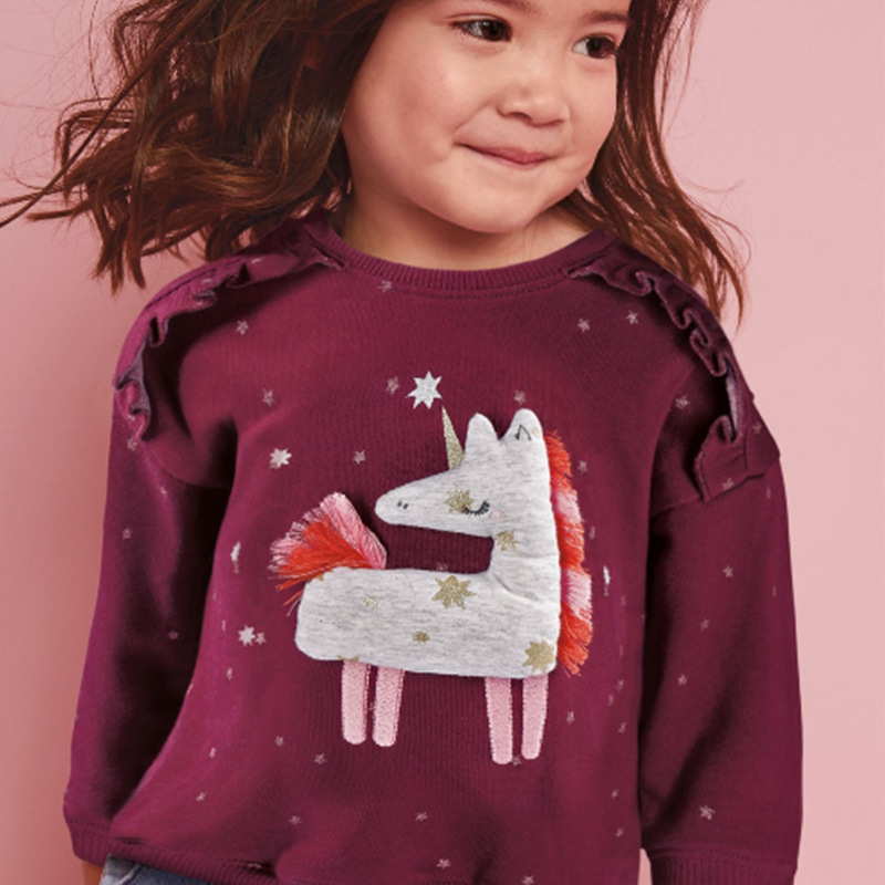 Little Maven Baby Girl Clothes Toddler 2020 New Winter Cotton Unicorn Applique Sweatshirt Wine Red Sweater for Kids 2-7 Years