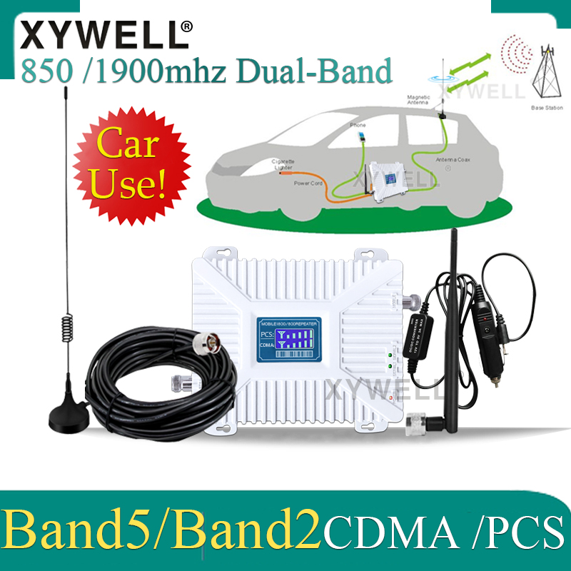 Car Use 850/1900mhz CDMA PCS Dual-Band Signal Repetidor De Sinal De Celular PCS GSM Mobile Signal Booster 3G Cellular Amplifier