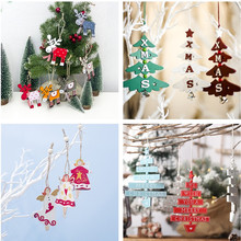 New Year 2020 Natural Wood Christmas Tree Ornament Wooden Pendant Xmas Gift Noel Christmas Decoration for Home Navidad 2019 Deco