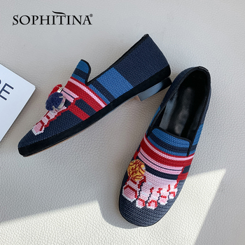SOPHITINA Special Design Flats More Style Fashion Embroidery Mixed Colors Casual Comfortable Shoes Handmade Women's Flats PO406