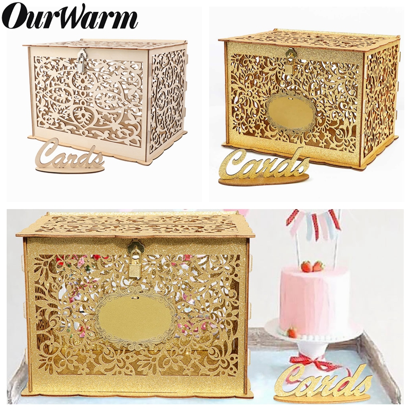 OurWarm DIY Wedding Gift Card Box Wooden Money Box With Lock Beautiful Wedding Decoration Supplies For Birthday Party