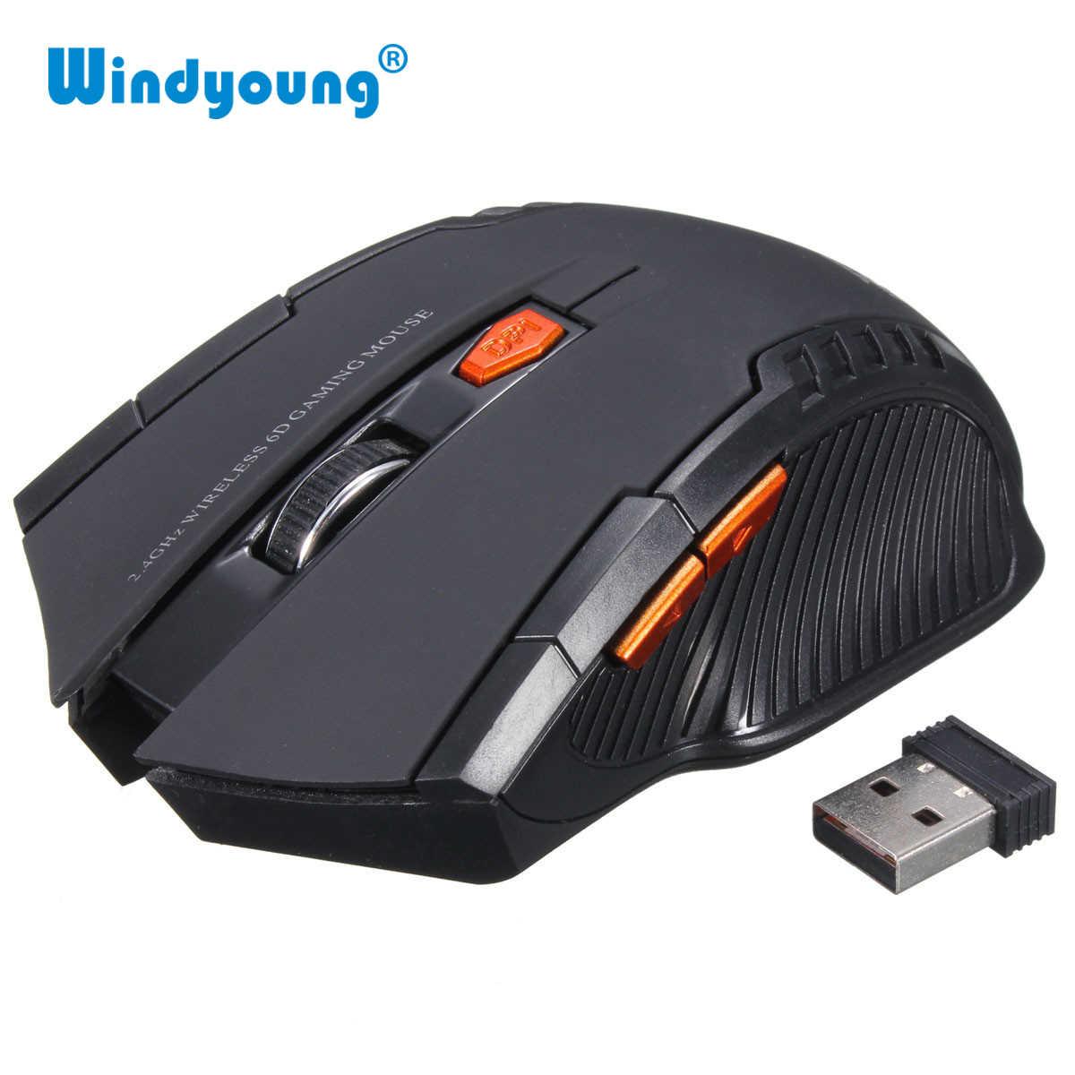 Ratón ratón óptico inalámbrico de 2,4 GHz nuevo juego ratón inalámbrico con receptor USB Mause para ordenador portátil de juegos jugador