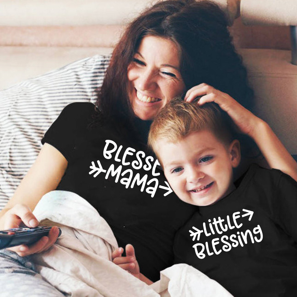 1pc Blessed Mama And Little Blessing Mommy And Me Clothes Family Matching Outfits Look Mom And Daughter Son T Shirts Dress Cloth