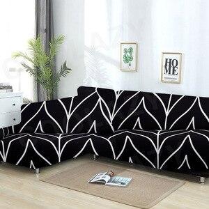 Image 3 - เรขาคณิตโซฟาชุดผ้าฝ้ายที่นอนยืดหยุ่นสำหรับห้องนั่งเล่นสั่งซื้อ 2 ชิ้นถ้าL chaise Longueโซฟา