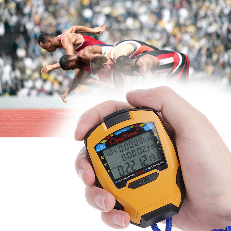 Professional Stopwatch 3 Rows 100 Laps 1/1000 Seconds Digital Sport Counter Timer Professional Athletics Stopwatch