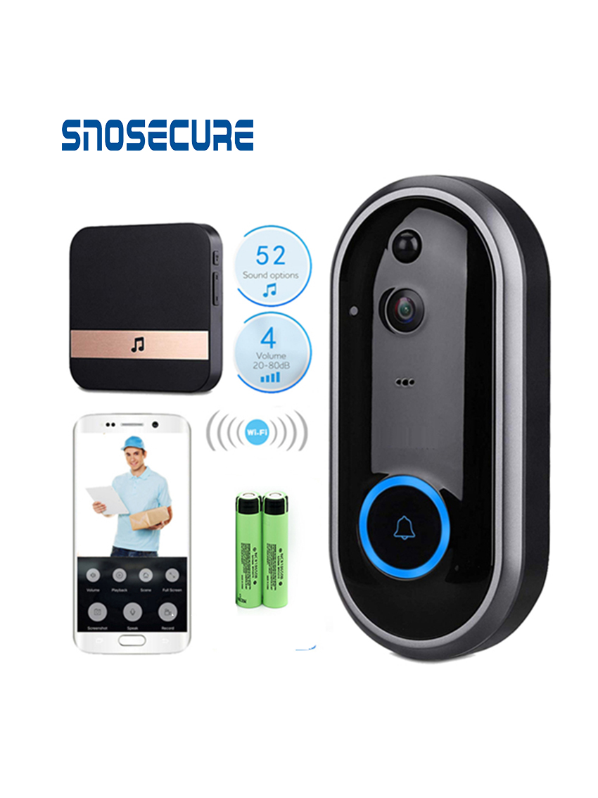 SNOSECURE Video Doorbell Monitor Intercom 720P Security Camera Door Phone Two-Way Audio Night Vision Wireless Intercom Doorbell