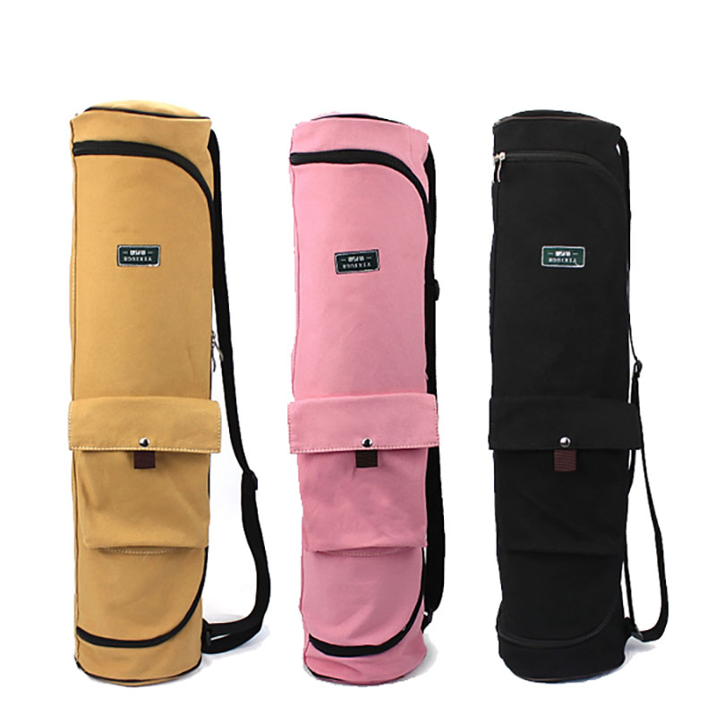 Large Capacity Canvas Yoga Mat Bag Multifunction Women's Sports Bag Double Zipper Men Fitness Gym Backpack Pilate Storage Pocket