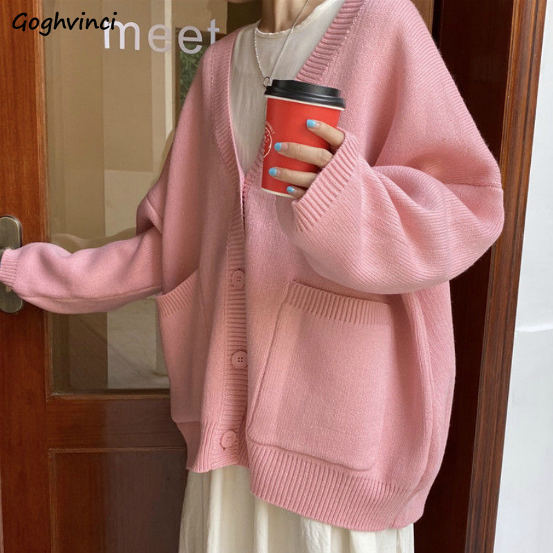 Sweater Solid Women Pockets Cardigans Sweet Girls Daily Outwear Kawaii Womens Loose Knitted Chic Korean Style All-match Jumper