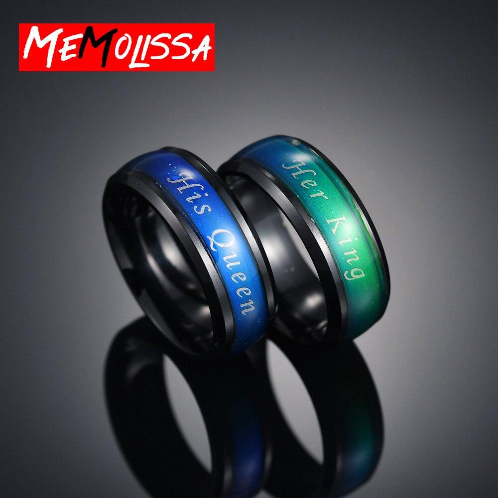 Klassische Liebhaber Stimmung Ring Für Frauen Männer Ihr König Seine Königin Paar Ringe Farbe Ändern Reif Temperatur Weiblich Männlich Schmuck