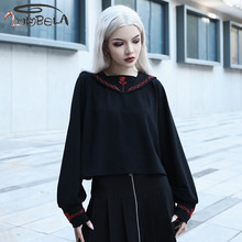 Imily Bela Casual Gothic Sweatshirt Women Loose Long Sleeve Sailor Collar Embroidery Black Pullovers Oversize Streetwear Winter