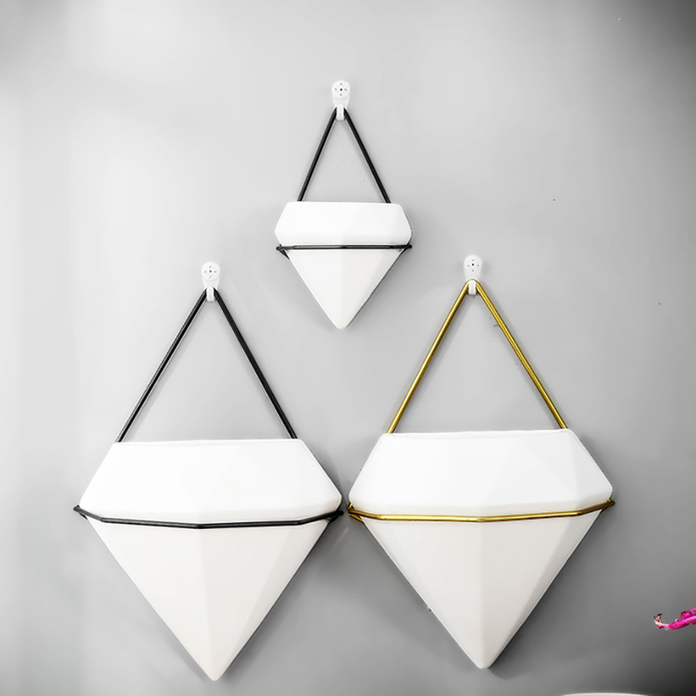 Wall Hanging Planter Pot Triangle Ceramic Air Planter Pot Hanging Decor Container Great For Succulent Cactus Pot Plant Holder