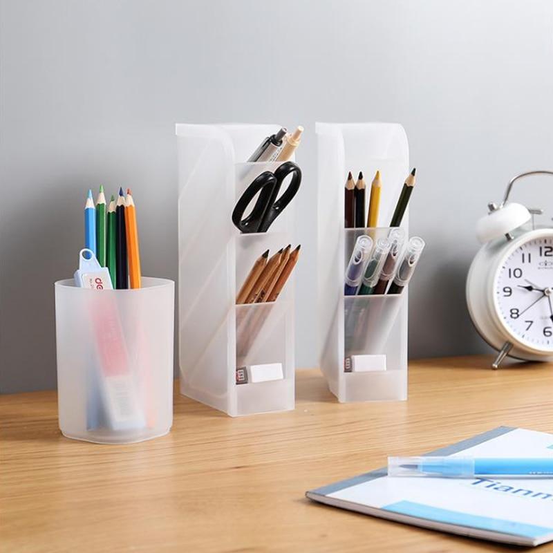 1Pcs Multifunctional Desktop Oblique Insert Storage Box Simple Storage Pen Holder For Stationery Makeup Brush Data Cable Lipstic